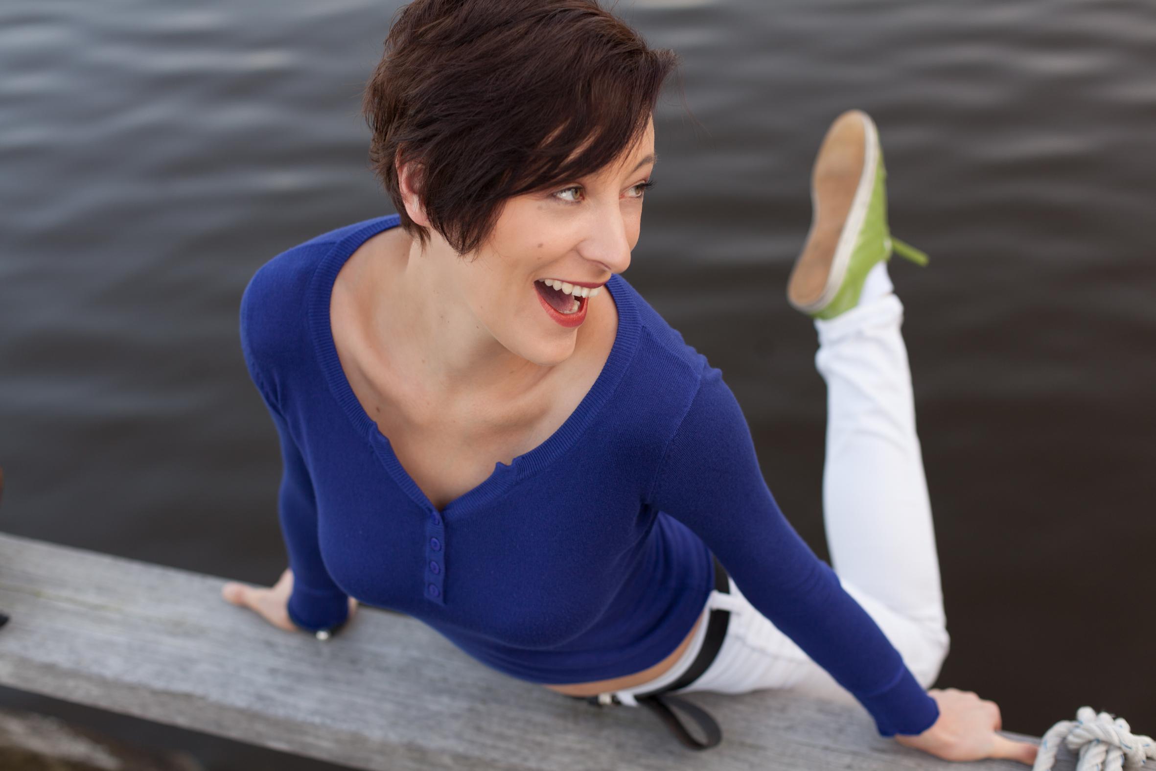 Moderatorin Annie Heger